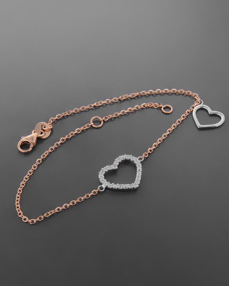 Βραχιόλι Καρδιά Λευκόχρυσο κ Ροζ Χρυσό Κ14   νεεσ αφιξεισ κοσμήματα γυναικεία