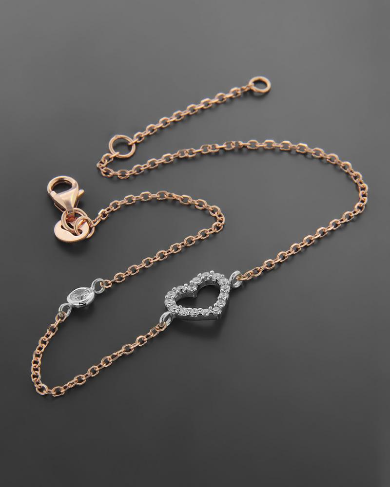 Βραχιόλι Ροζ Χρυσό κ Λευκόχρυσο με Ζιργκόν Κ14   νεεσ αφιξεισ κοσμήματα γυναικεία