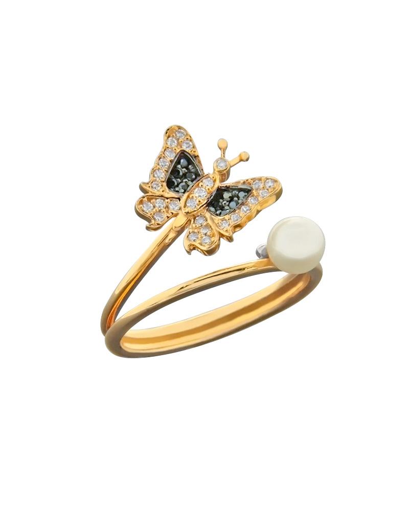Δαχτυλίδι ροζ χρυσό Κ14 με Ζιργκόν & Μαργαριτάρι   γυναικα δαχτυλίδια δαχτυλίδια με μαργαριτάρια