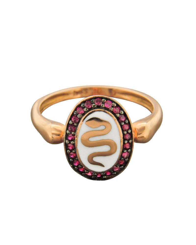 Δαχτυλίδι ροζ χρυσό Κ14 με σμάλτο και ζιργκόν