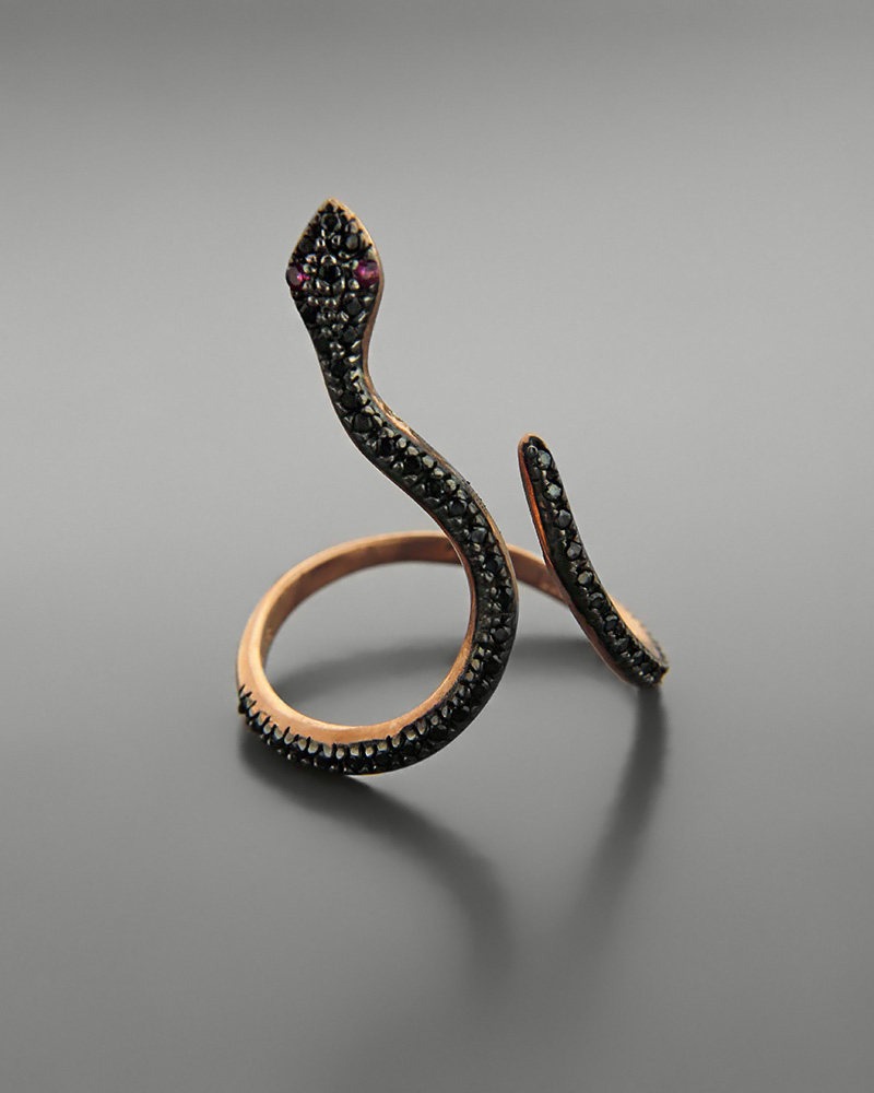 Εικόνα του προϊόντος Δαχτυλίδι φίδι ροζ χρυσό Κ9 με ζιργκόν