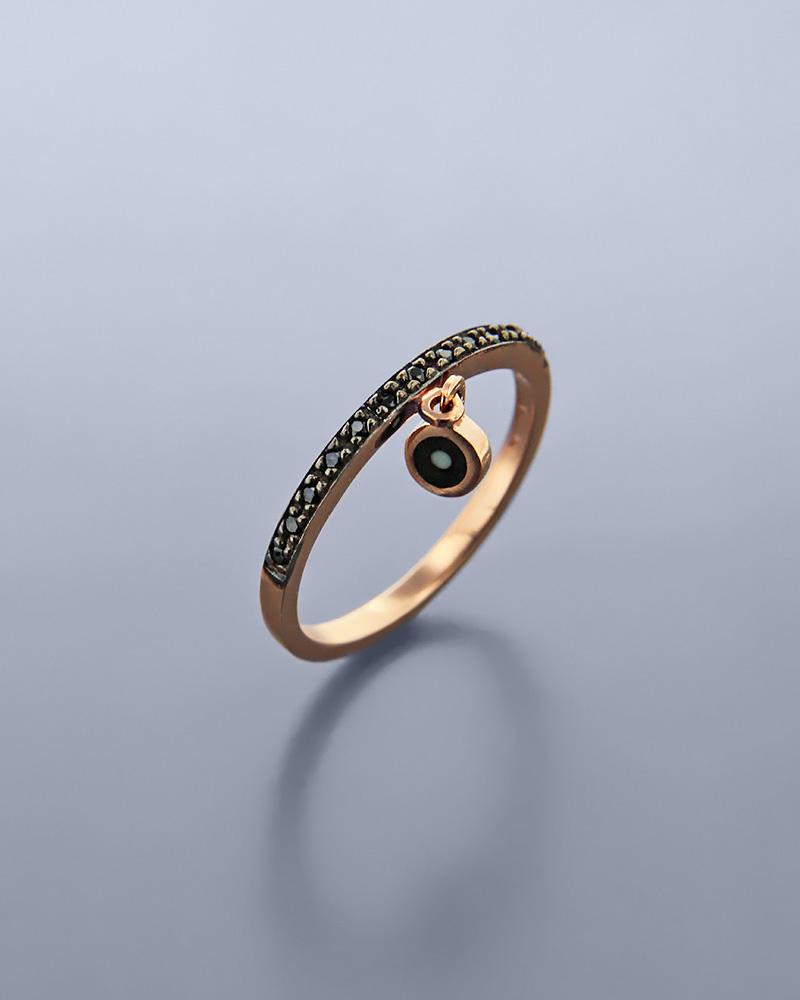 Δαχτυλίδι μάτι ροζ χρυσό Κ9 με ζιργκόν & σμάλτο   νεεσ αφιξεισ κοσμήματα γυναικεία