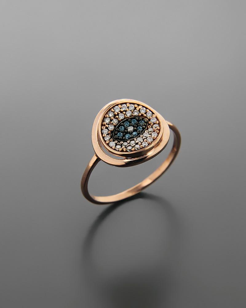 Δαχτυλίδι μάτι ροζ χρυσό Κ9 με ζιργκόν   νεεσ αφιξεισ κοσμήματα γυναικεία