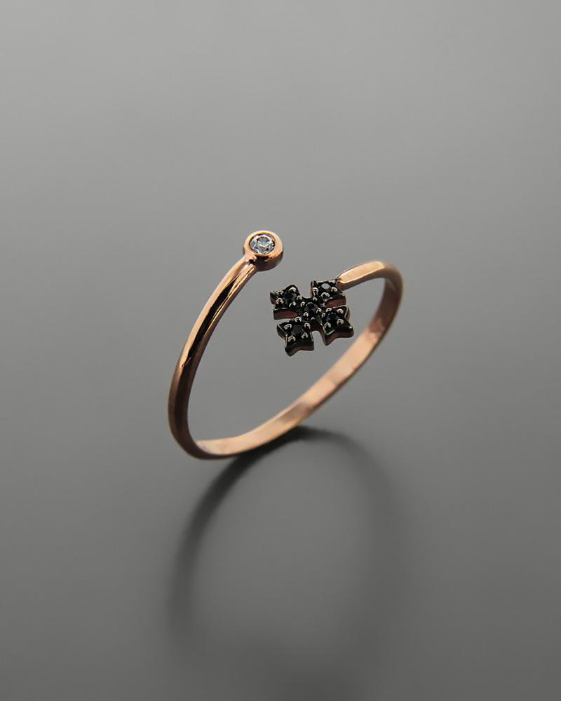 Δαχτυλίδι σταυρός ροζ χρυσό Κ9 με ζιργκόν