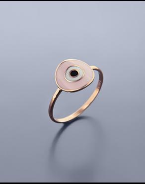 Δαχτυλίδι μάτι ροζ χρυσό Κ9 με σμάλτο 28940713e2b