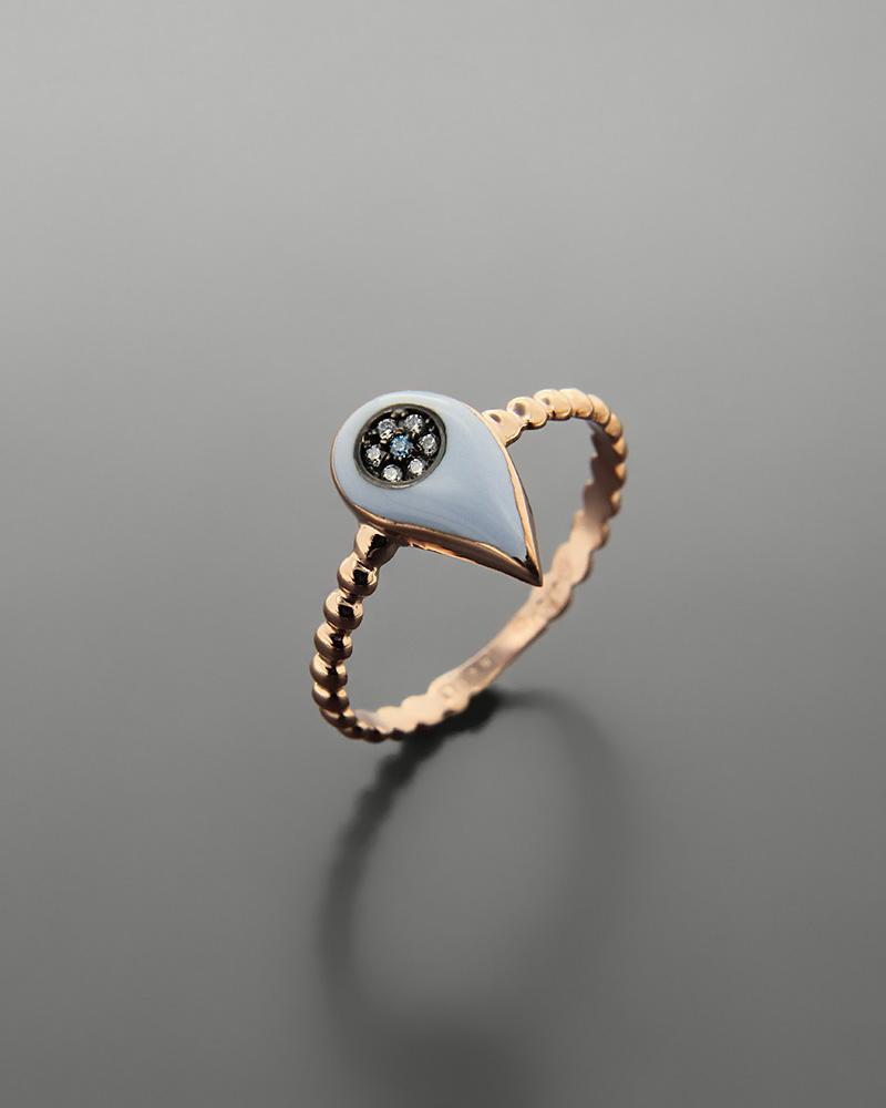 Εικόνα του προϊόντος Δαχτυλίδι δάκρυ ροζ χρυσό Κ9 με σμάλτο και ζιργκόν