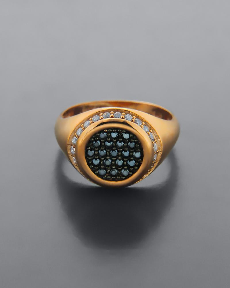 Δαχτυλίδι σεβαλιέ ροζ χρυσό Κ9 με Ζιργκόν   κοσμηματα δαχτυλίδια δαχτυλίδια chevalier