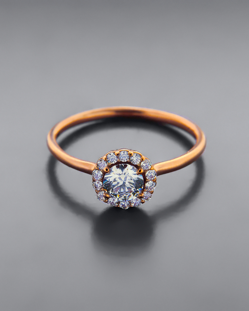 Δαχτυλίδι ροζ χρυσό Κ9 με Ζιργκόν   νεεσ αφιξεισ κοσμήματα γυναικεία