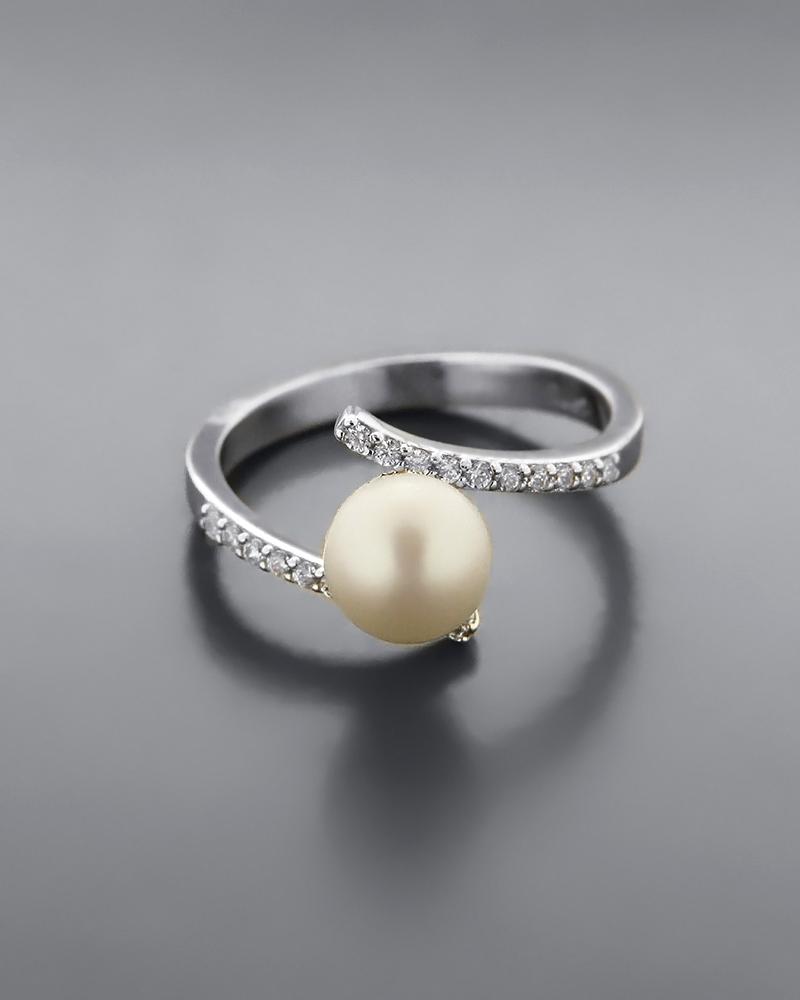 Δαχτυλίδι λευκόχρυσο Κ14 με Μαργαριτάρι & Ζιργκόν   κοσμηματα δαχτυλίδια δαχτυλίδια μαργαριτάρια