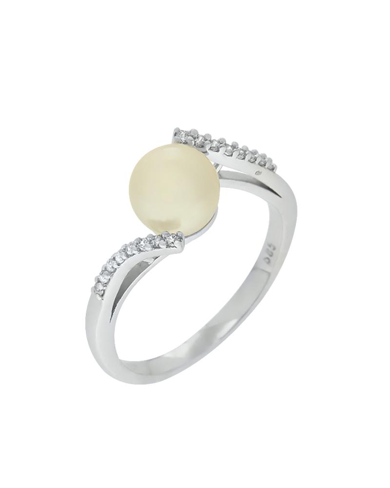 Δαχτυλίδι λευκόχρυσο Κ14 με μαργαριτάρι και ζιργκόν