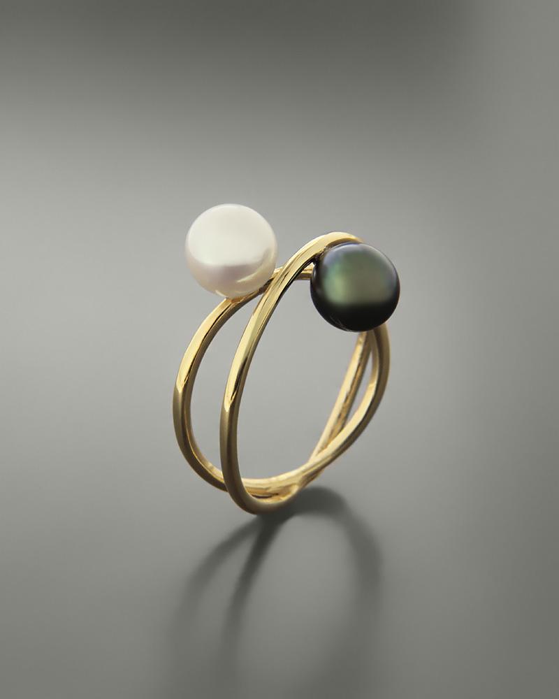 Δαχτυλίδι χρυσό Κ14 με μαργαριτάρια   νεεσ αφιξεισ κοσμήματα γυναικεία