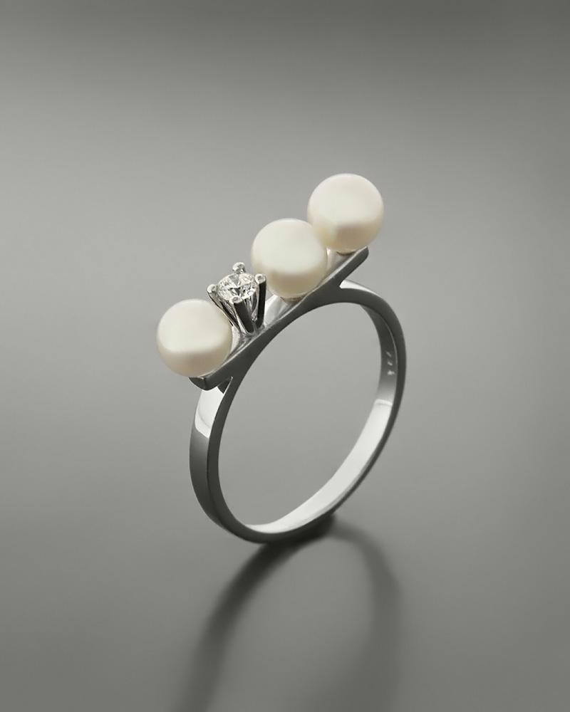 Δαχτυλίδι λευκόχρυσο Κ14 με μαργαριτάρια και ζιργκόν   κοσμηματα δαχτυλίδια δαχτυλίδια μαργαριτάρια