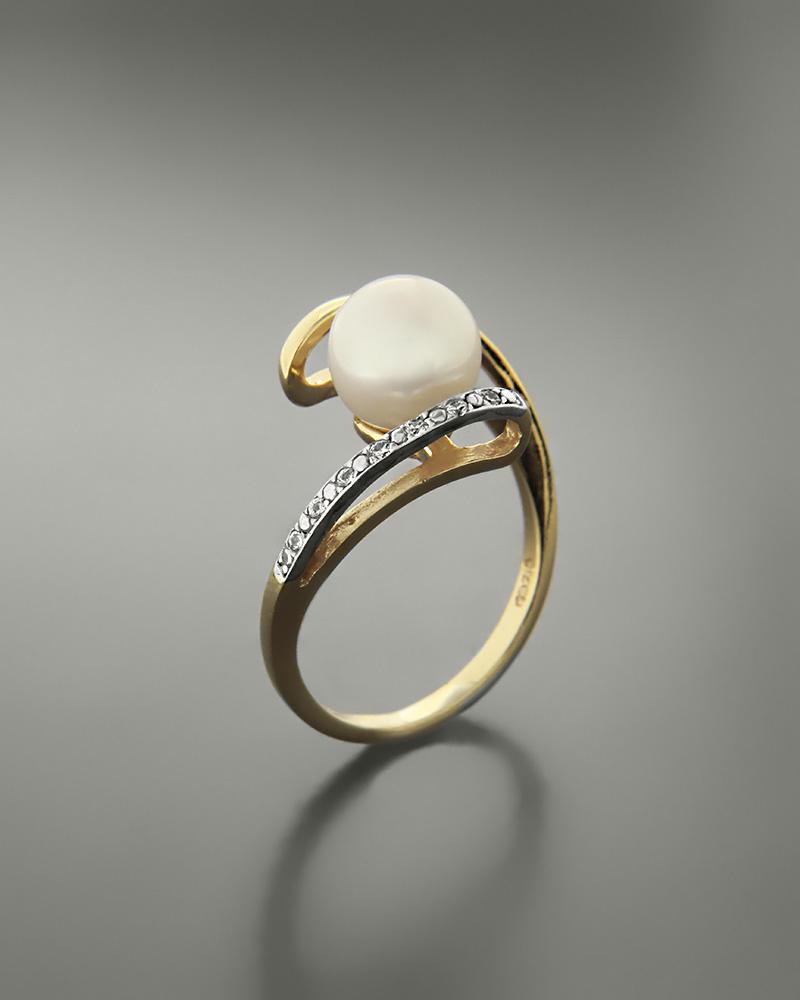 Δαχτυλίδι χρυσό και λευκόχρυσο Κ14 με μαργαριτάρι και ζιργκόν   κοσμηματα δαχτυλίδια δαχτυλίδια μαργαριτάρια