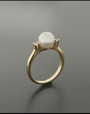 Δαχτυλίδι χρυσό Κ14 με μαργαριτάρι και ζιργκόν c8b0738b7e6