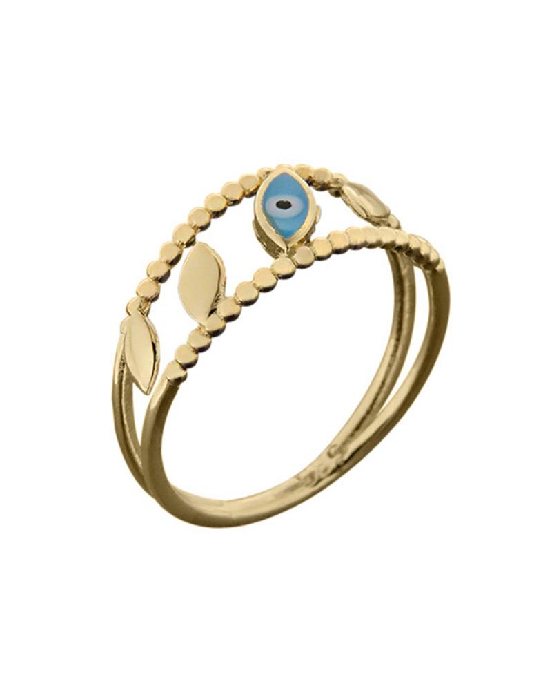 Δαχτυλίδι ματάκι διπλό χρυσό Κ14 με σμάλτο   νεεσ αφιξεισ κοσμήματα γυναικεία