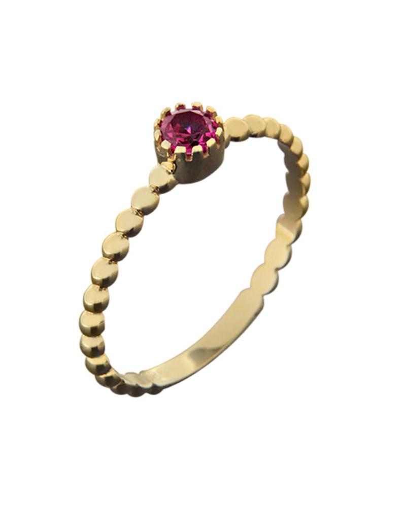 Δαχτυλίδι μονόπετρο χρυσό Κ14 με ζιργκόν