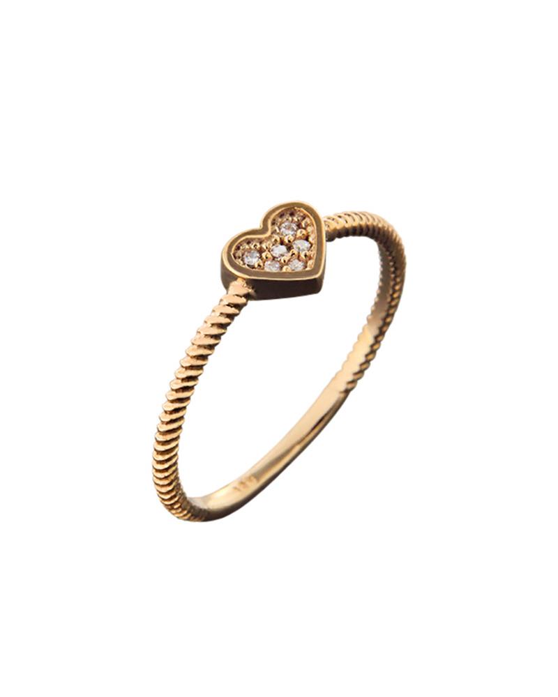 Δαχτυλίδι καρδιά ροζ χρυσό Κ14 με ζιργκόν   νεεσ αφιξεισ κοσμήματα γυναικεία