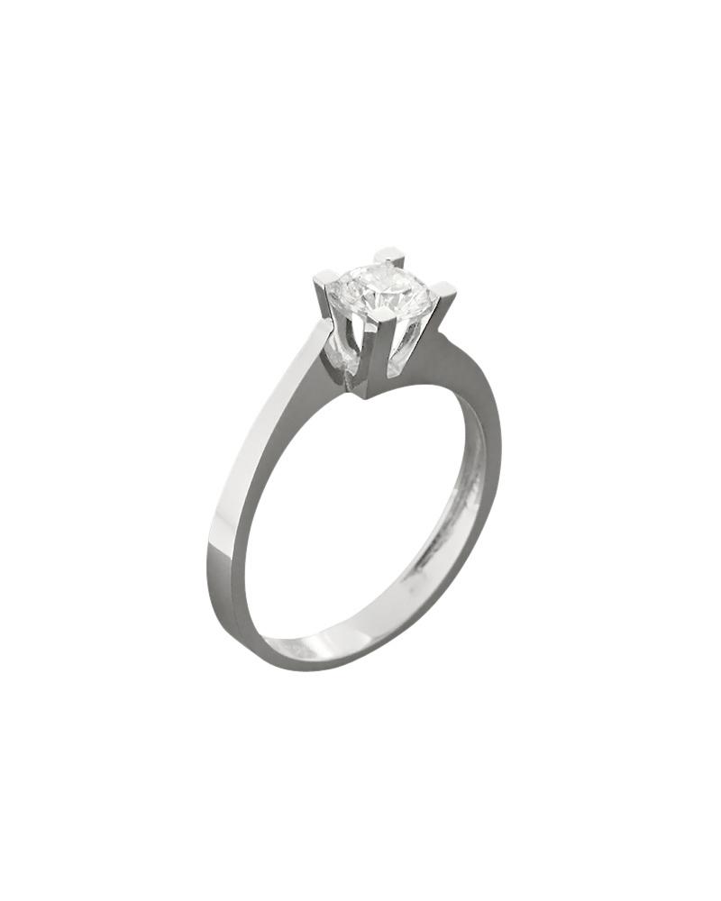Δαχτυλίδι μονόπετρο λευκόχρυσο Κ14 με ζιργκόν