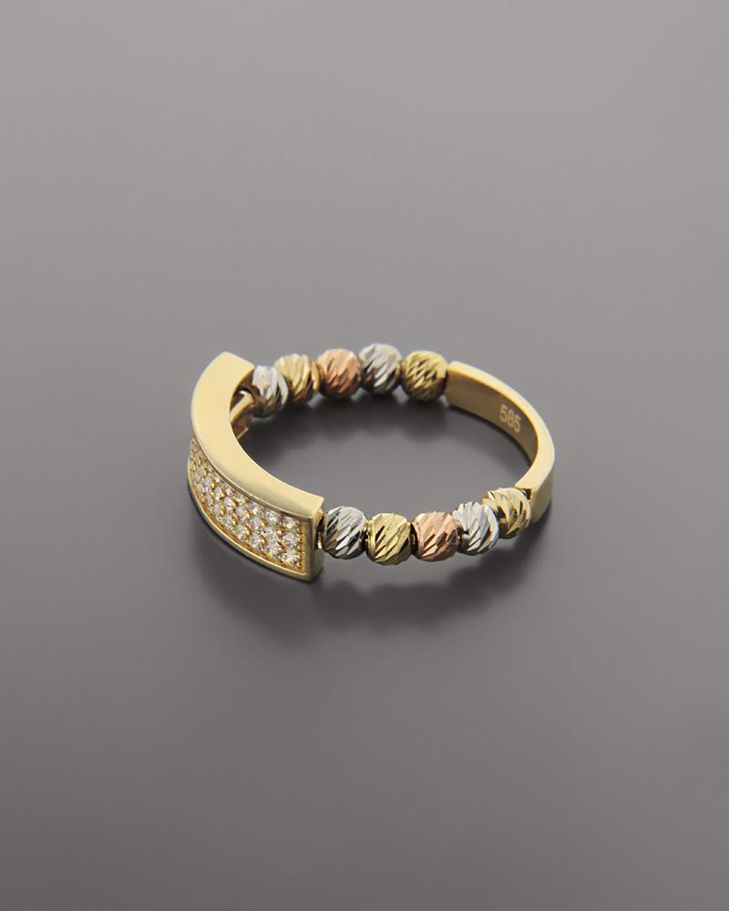 Δαχτυλίδι χρυσό, λευκόχρυσο και ροζ χρυσό Κ14 με ζιργκόν   κοσμηματα δαχτυλίδια χρυσά