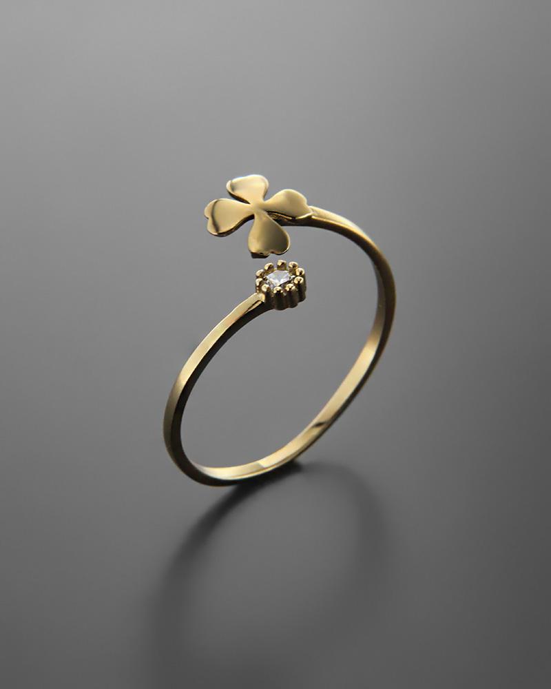 Δαχτυλίδι τετράφυλλο τριφύλλι χρυσό Κ14 με ζιργκόν
