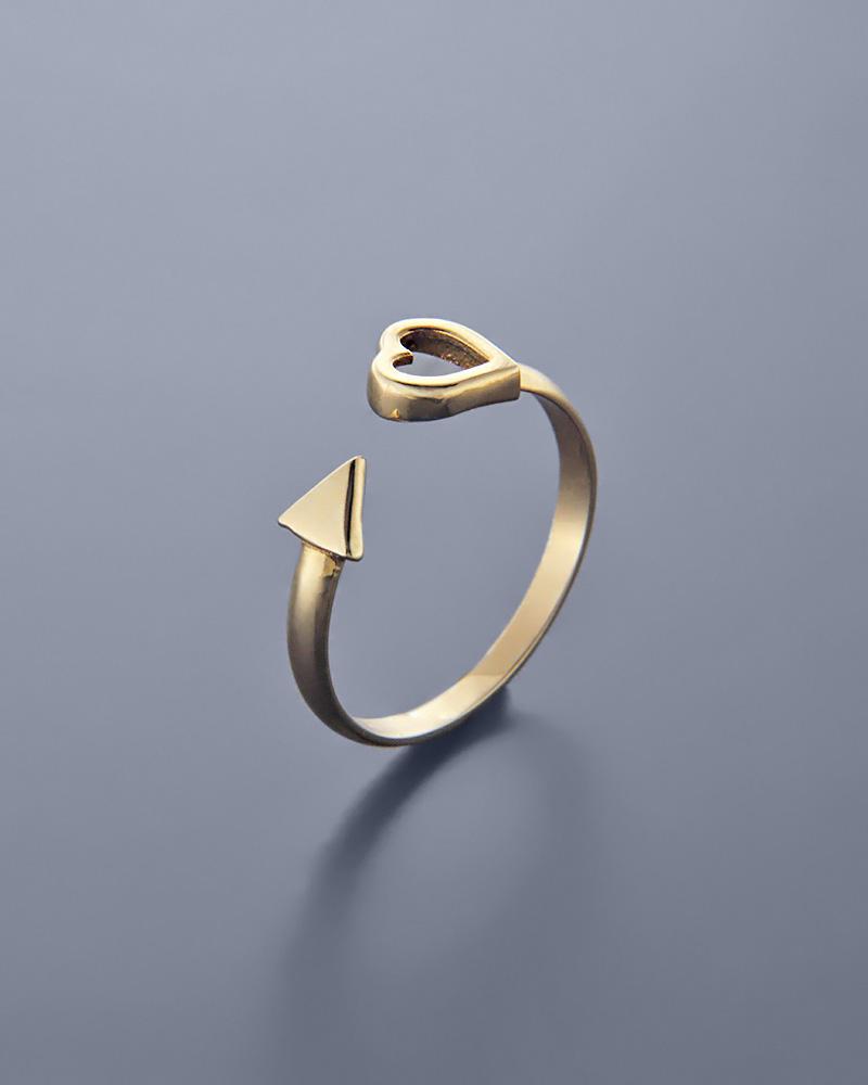 Δαχτυλίδι καρδιά και βέλος χρυσό Κ14   κοσμηματα δαχτυλίδια δαχτυλίδια fashion