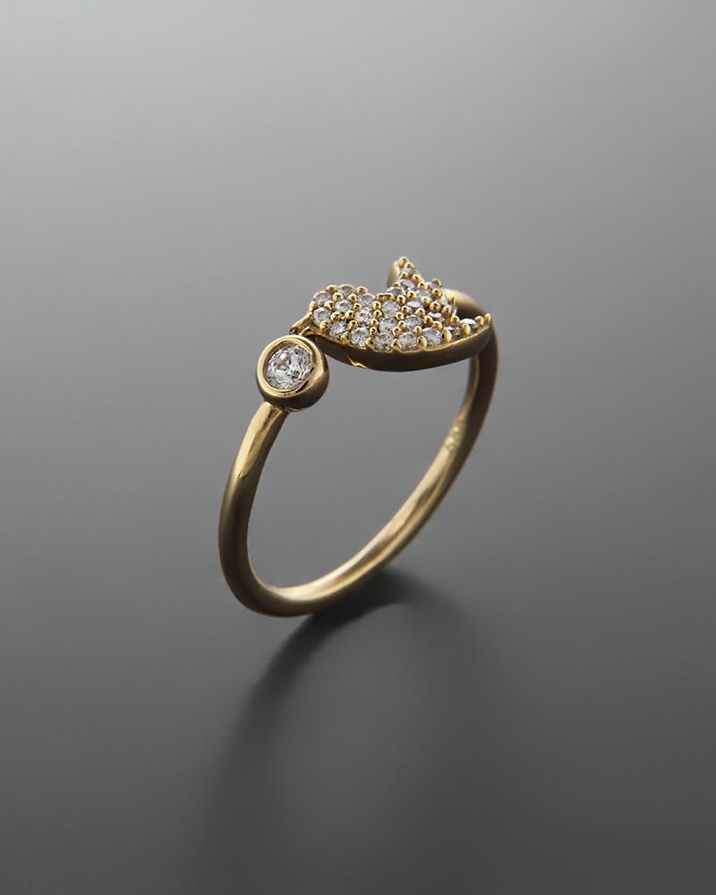 Δαχτυλίδι πουλί χρυσό Κ14 με ζιργκόν   κοσμηματα δαχτυλίδια χρυσά