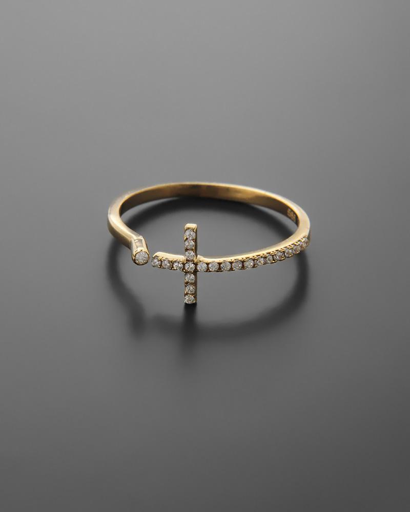 Δαχτυλίδι σταυρός χρυσό Κ14 με ζιργκόν   κοσμηματα δαχτυλίδια δαχτυλίδια fashion