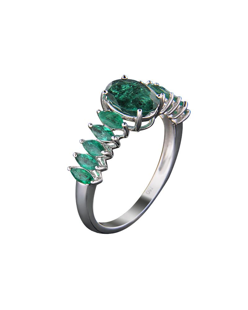 Δαχτυλίδι μονόπετρο λευκόχρυσο Κ18 με Σμαράγδια   νεεσ αφιξεισ κοσμήματα γυναικεία