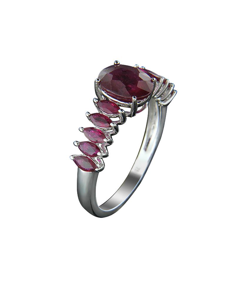 Δαχτυλίδι μονόπετρο λευκόχρυσο Κ18 με Ρουμπίνια   νεεσ αφιξεισ κοσμήματα γυναικεία