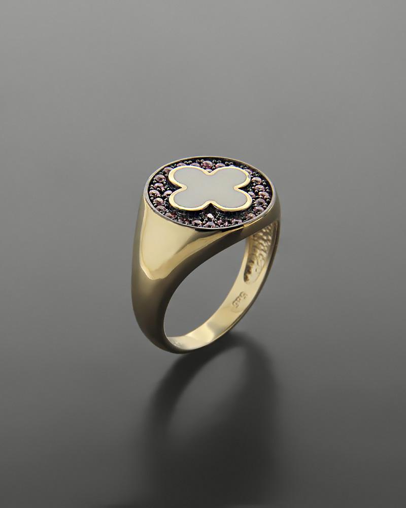 Δαχτυλίδι chevalier σταυρός χρυσό Κ14 με σμάλτο και ζιργκόν   κοσμηματα δαχτυλίδια χρυσά