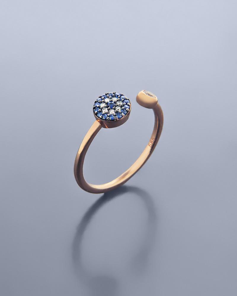 Δαχτυλίδι ματάκι ροζ χρυσό Κ14 με ζιργκόν   κοσμηματα κοσμήματα με ματάκι