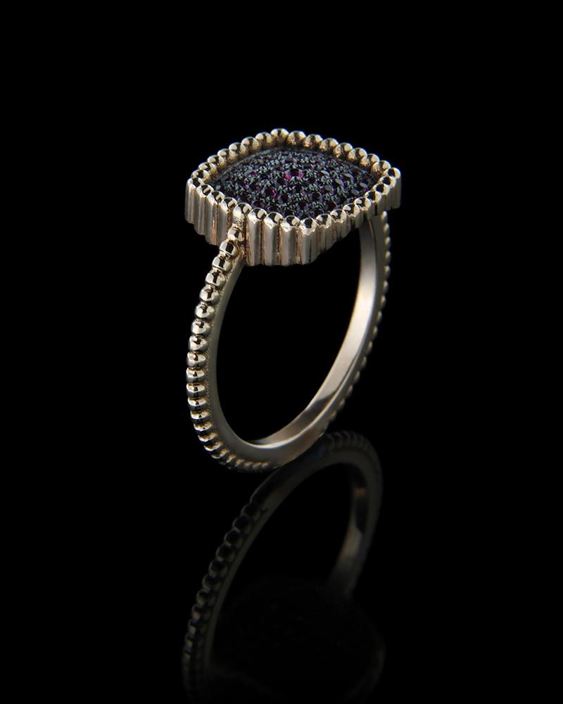 Δαχτυλίδι ροζ χρυσό Κ18 με Ρουμπίνια