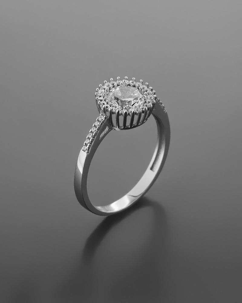 Δαχτυλίδι λευκόχρυσο Κ14 με ζιργκόν