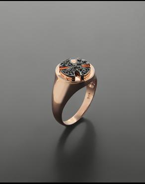 Δαχτυλίδι chevalier σταυρός ροζ χρυσό Κ14 με ζιργκόν 1b73e7f2934