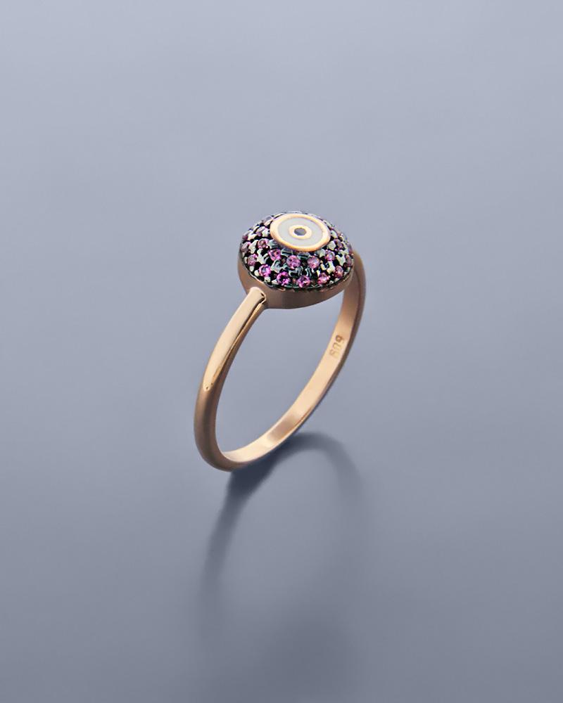 Δαχτυλίδι μάτι ροζ χρυσό Κ14 με ζιργκόν και σμάλτο   νεεσ αφιξεισ κοσμήματα γυναικεία