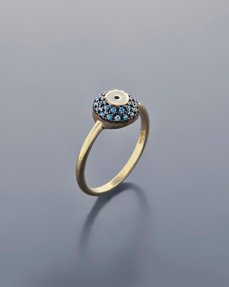 Δαχτυλίδι μάτι χρυσό Κ14 με ζιργκόν και σμάλτο   νεεσ αφιξεισ κοσμήματα γυναικεία