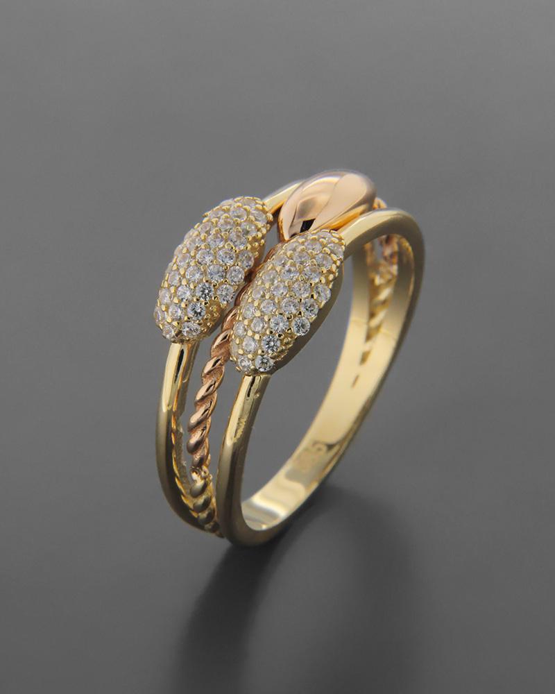 Δαχτυλίδι χρυσό & ροζ χρυσό Κ14 με Ζιργκόν   νεεσ αφιξεισ κοσμήματα γυναικεία