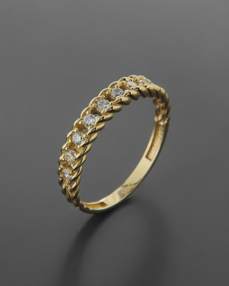 Δαχτυλίδι χρυσό Κ14 με λευκά cubic ζιργκόν   νεεσ αφιξεισ κοσμήματα γυναικεία