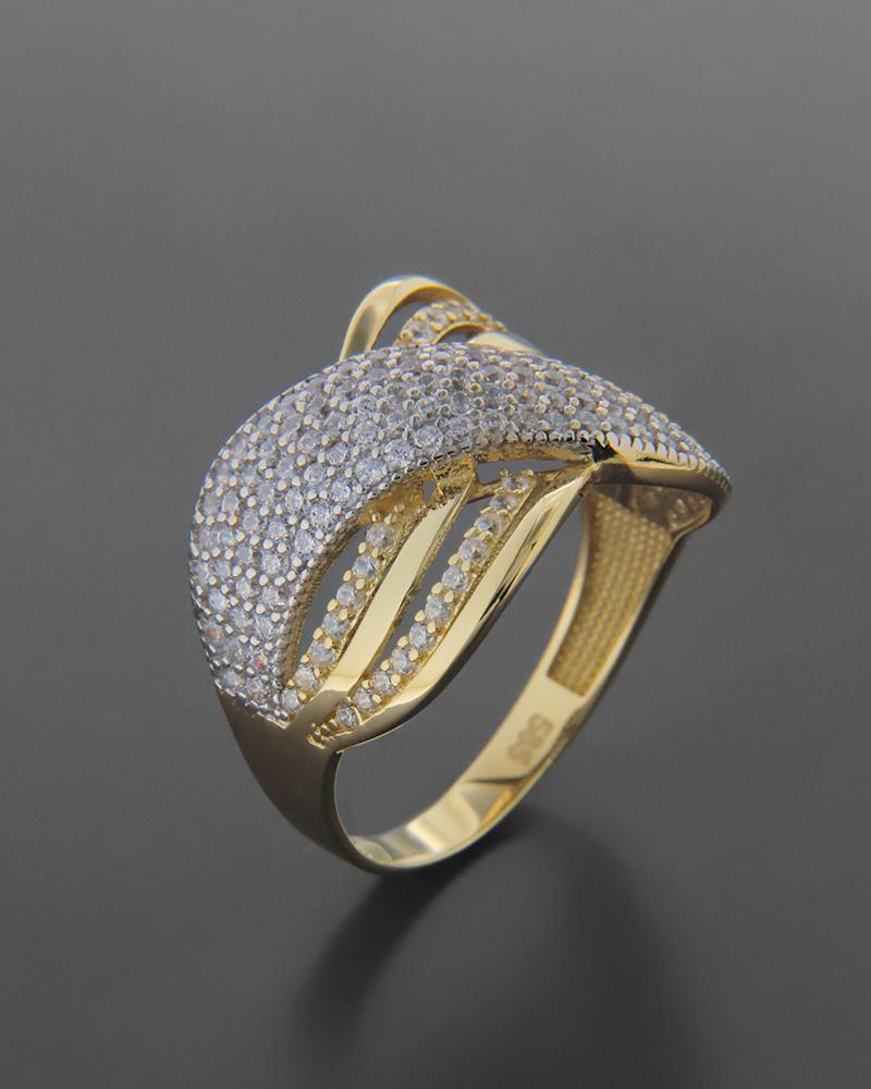 Δαχτυλίδι χρυσό και λευκόχρυσο Κ14 με ζιργκόν   νεεσ αφιξεισ κοσμήματα γυναικεία