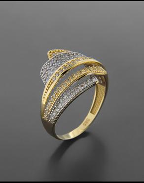 Δαχτυλίδι χρυσό και λευκόχρυσο Κ14 με ζιργκόν ea62a82a7e7