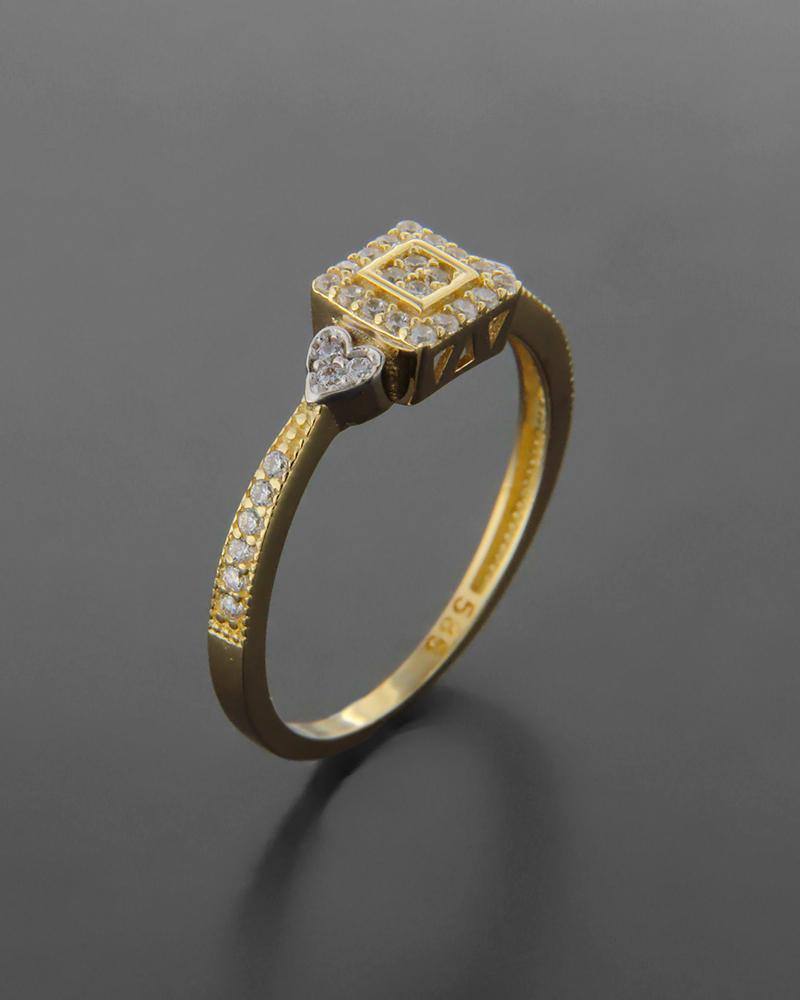 1a5cccf2f3ca Δαχτυλίδι Κίτρινο Χρυσό Κ14 Με Ζιργκόν