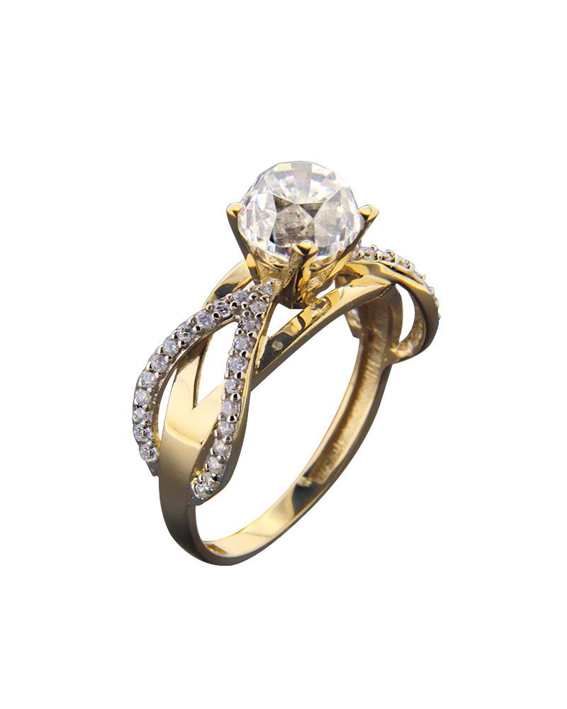 Δαχτυλίδι Μονόπετρο Με Ζιργκόν Κίτρινο Χρυσό Κ14   γαμοσ μονόπετρα μονοπετρα με ζιργκόν