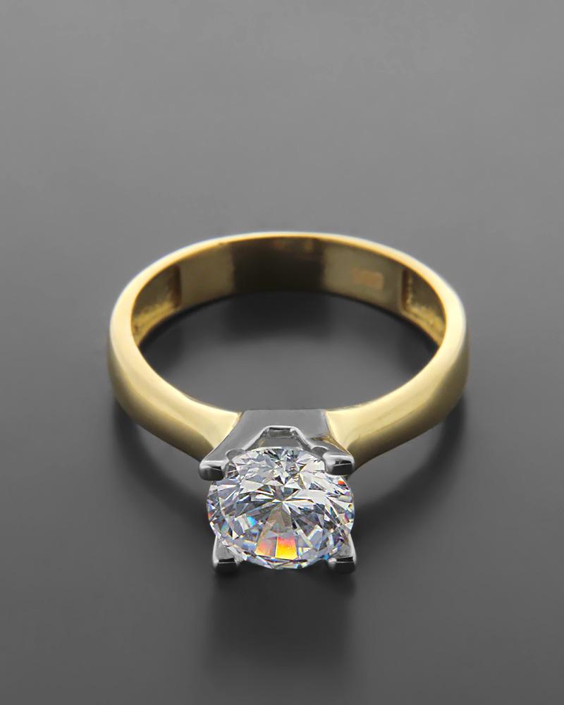 Δαχτυλίδι Μονόπετρο Κίτρινο Χρυσό Κ14   κοσμηματα δαχτυλίδια μονόπετρα με ζιργκόν