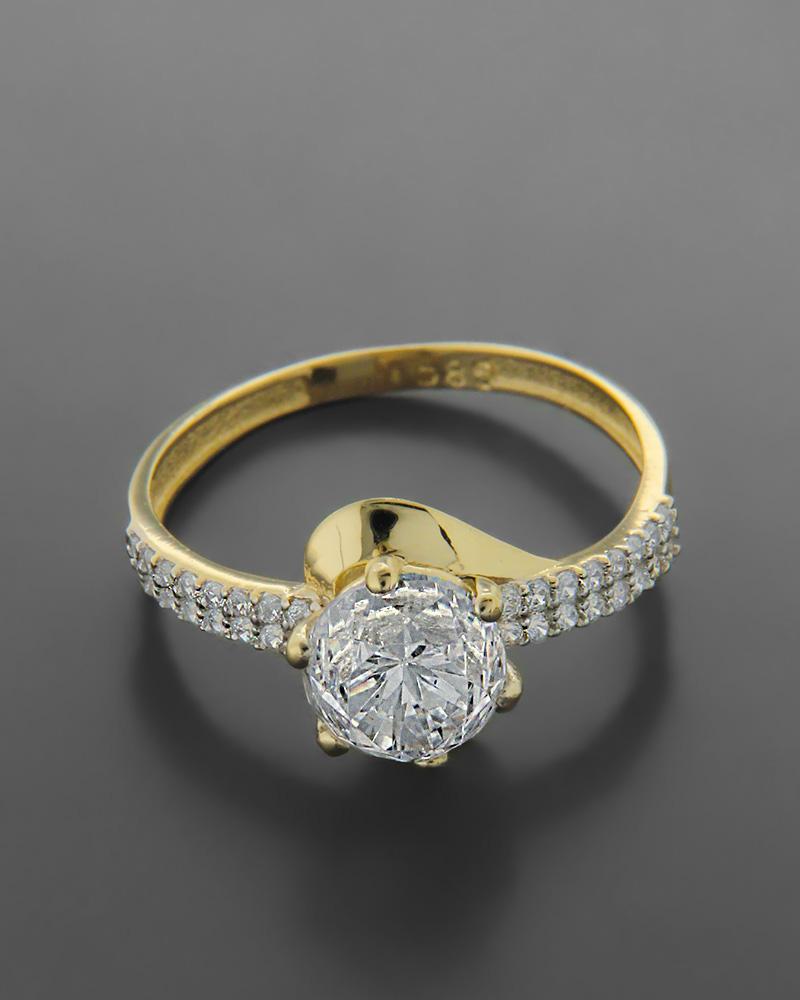 Δαχτυλίδι Μονόπετρο Με Ζιργκόν Κίτιρνο Χρυσό Κ14   κοσμηματα δαχτυλίδια μονόπετρα με ζιργκόν