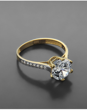 Δαχτυλίδι Μονόπετρο Με Ζιργκόν Κίτρινο Χρυσό Κ14 6b45c8acf0c
