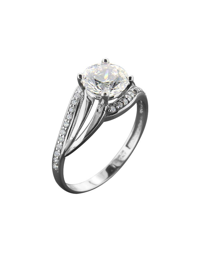 Δαχτυλίδι Μονόπετρο Με Ζιργκόν Λευκόχρυσο Κ14   γαμοσ μονόπετρα μονοπετρα με ζιργκόν