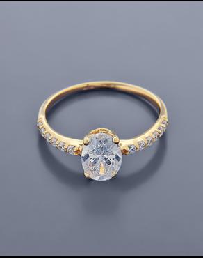 Δαχτυλίδι Μονόπετρο Κίτρινο Χρυσό Κ14 0daad9756e5