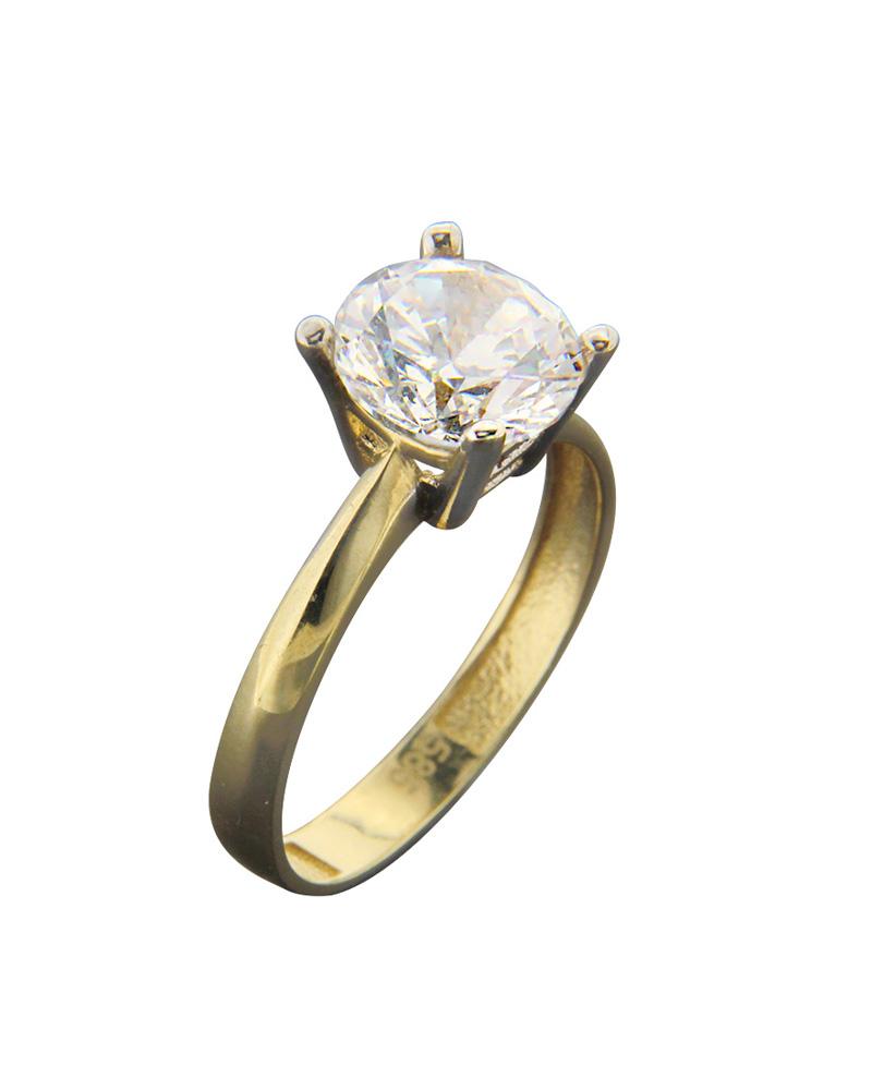 Μονόπετρο Δαχτυλίδι χρυσό Κ14 με λευκό Ζιργκόν   νεεσ αφιξεισ κοσμήματα γυναικεία