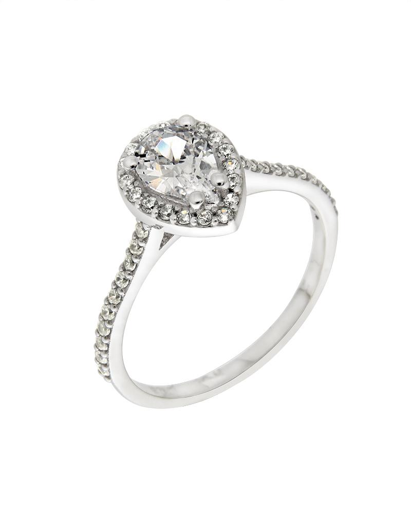 Δαχτυλίδι λευκόχρυσο Κ9 με ζιργκόν