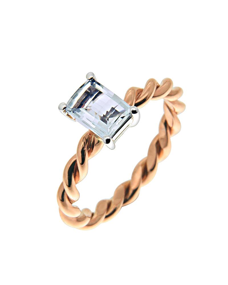Δαχτυλίδι μονόπετρο ροζ & λευκό χρυσό Κ18 με Aquamarine